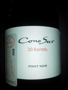ConoSur*PinotNoir*20Barrels*2008*Chile*Navidad2013 Chile, Barrel, Champagne, Good Things, Drinks, Bottle, Black People, Drinking, Beverages