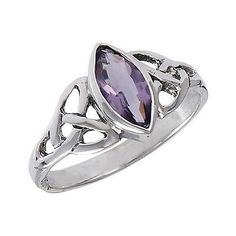 Sterling Silver .925 CELTIC TRIQUETRA Knot Ring Synthetic Amethyst Size 8
