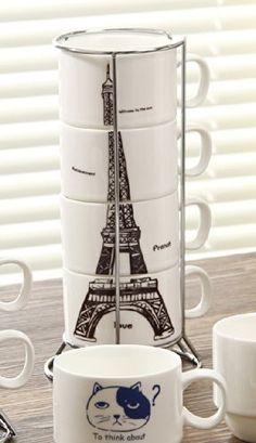 Keramik 4 Tassen Becher für Kaffee/Tee/Espresso/Milch/Wasserturm gesetzt Kaffeetasse by Ufingo http://www.amazon.de/dp/B00KTEJGDO/ref=cm_sw_r_pi_dp_szn-tb0VHDH59