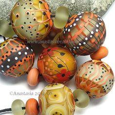 """ANASTASIA--lampwork beads--(7)--""""AUTUMN LIGHT""""--SRA #set"""