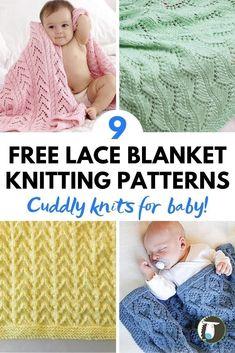 9 FREE Lace Baby Blanket Knitting Patterns Knitting Blogs, Knitting Patterns Free, Free Knitting, Baby Knitting, Chevron Baby Blankets, Knitted Baby Blankets, Knitted Afghans, Crochet Baby Sweaters, Aran Weight Yarn
