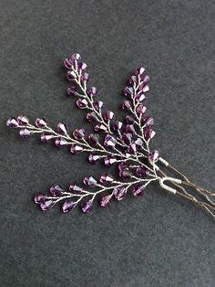 Lavender Hair pin set of 2 Bridal Hair Pins Crystals pins