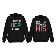 Stealing Heart Couple Hoodie ($68) ❤ liked on Polyvore featuring tops, hoodies, couples, jackets, shirts, hoodie, women tops, black shirt and mens pullover shirts