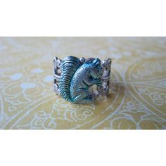 Blue Squirrel Ring, Squirrel Jewelry, Antiqued Silver, Steampunk,... ($15) ❤ liked on Polyvore
