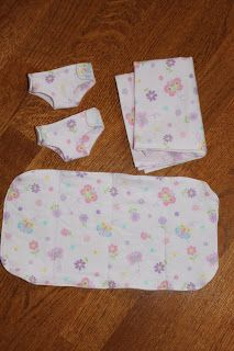 MADE: Pieces For Reese: Baby Doll: Diapers, Blanket, Changing Pad