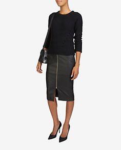 A.L.C. Asheton Zipper Leather Pencil Skirt