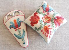 """The pin cushion measures 10cm (4"""") square and the scissor sheath fits a pair of 4"""" embroidery scissors ** NOVICE - These projects are perfect if you are famil"""