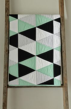 No pattern. No rules. A custom quilt made with Michael Miller Cotton Couture solids : mint, black, white. The dot is ...