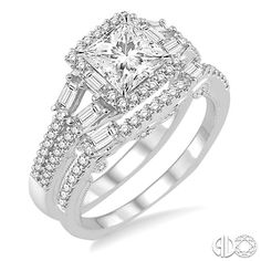 This diamond wedding set is perfect symbol for your commitment. The engagement ring is centered with a 5/8 ct princess cut diamond embellished with 64 straight baguette and round cut diamonds.  #Diamonds #SwansonDiamondCenter
