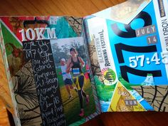 Art journal pages about running :) Cool way to display running bibs / numbers Running Bibs, Race Book, Self Discovery, Art Journal Pages, Journalling, Numbers, Art Ideas, My Arts, Racing