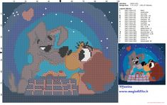 Lady and the Tramp cross stitch pattern (click to view)