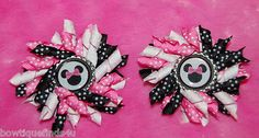 Set of (2) MINNIE MOUSE PINK Korker Hair Bows with Bottle Caps