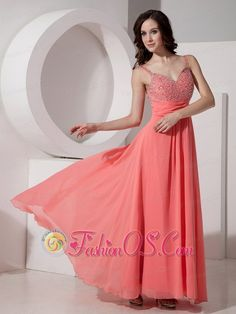 Latest Watermelon Empire Straps Evening Dress Chiffon Beading Ankle-length- $128.49