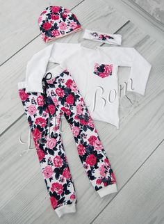 DaMohony Direct Baby Girl Clothes Newborn Girl Outfits Floral Long Sleeve Tops Ripped Jeans Toddler Girls Clothes Set Fall