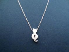 Cute Cat Personalized Initial Silver Necklace by Gliget on Etsy, $14.80
