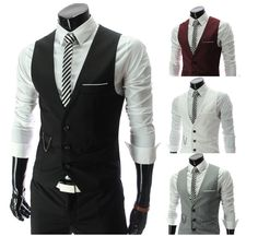 2014 New Arrival! Men Suit Vest Slim Dress Vests Men's Fitted Leisure Waistcoat Casual Business Jacket Tops Three Buttons