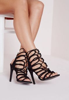 Be a total dream in these seductive black rope lace up heels! In a super soft faux suede, fierce rope detailing and adjustable tie to the front, these are a must have for the perfect night out. Team up with a figure flattering dress and lay...