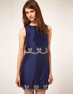 ASOS Shift Dress with Embellished Bow