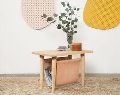 Boyce Studio End Table With Leather Magazine Rack