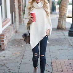 Ecstasy Models Streetstyle wearing Cowled Swing Pullover, Wool Box Poncho, 'High Riser Skinny Skinny' Cut Edge Jeans (Black Sea), Sam Edelman 'Petty' ChelseaBootie (Women), DIONYSUS GG SUPREME MINI BAG and Genuine Fox Fur Pom Bag Charm