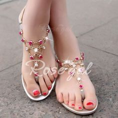Stylish Flowers and Rhinestones Design Women's Sandals