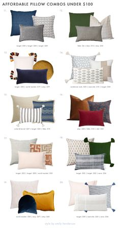 20 VERY Affordable Pillow Combos & Our 5 No-Fail Combo Rules - Emily Henderson #throwpillows #homedecor #interiors Living Room Pillows, Living Room Decor, Large Pillows, Throw Pillows, Sofa Pillows, Wall Nook, Pillow Arrangement, Family Room, Interior Design