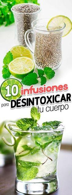 10 infusiones para desintoxicar tu cuerpo. Healty food. Healty drinks. Detox drinks