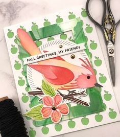 Paper Cards, Paper Gifts, Different Shades Of Green, Bird Cards, Jute Twine, Color Blending, New Leaf, Beautiful Birds, Halloween Fun