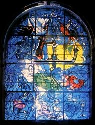 The Tribe Dan ~ The twelve windows were created by Marc Chagall for the Synagogue of the Hadassah hospital in Jerusalem. They symbolize the twelve sons of Jacob, which made the twelve tribes of Israel. Marc Chagall, Jewish History, Jewish Art, Stained Glass Art, Stained Glass Windows, Chagall Windows, Chagall Paintings, Sons Of Jacob, Stage Set