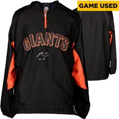 Madison Bumgarner San Francisco Giants Autographed Black Game Used Jacket with Sleeves and GU 14 Inscription