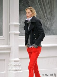 Karolina Kurkova in red skinny jeans, grey knit, white shirt and black jacket