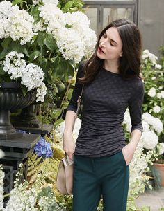 Boatneck Ruched Top WO113 3/4 Sleeved Tops at Boden