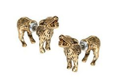 Vintage Brass Earrings Howling Hounds-- dog earrings! Perfect gift for a dog lover.