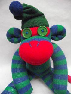 Sockamajig Monkey in blue and green