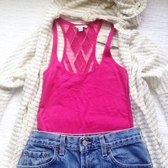 AEO Pink Tank♡ NWT pink tank with sheer detailing on back. In XS and 25inches in length. Ready to be worn :) American Eagle Outfitters Tops Tank Tops