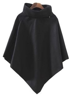 Black High Neck Batwing Sleeve Cape US$23.77