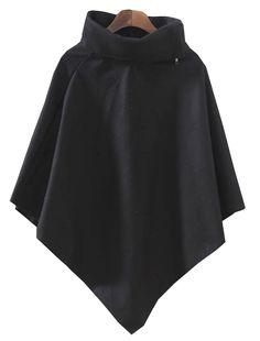 Black High Neck Batwing Sleeve Cape US$23.77