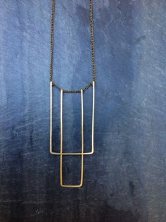 ~Simple Straight Deco - By Loop Jewelry Formed and forged on fine brass chain with blue spinel bead detailing on the clasp.  Lightweight and
