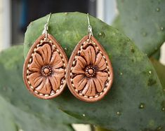 Tooled Leather Flower Earrings