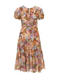 Luftiges Kleid mit Puffärmeln und geraffter Vordernaht.
