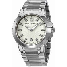 Harry Winston Ocean Sport Silver Diamond Dial Zalium Ladies Watch (150.502.600 IDR) ❤ liked on Polyvore featuring jewelry, watches, water resistant watches, diamond wrist watch, sports watches, diamond jewellery and silver jewellery