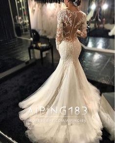 Vestido Sexy E Branco Marfim Sereia vestidos de noiva Querida APLIQUES DE RENDA vestidos de casamento