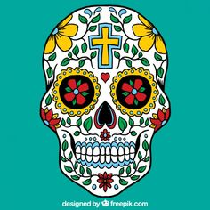 Colorful mexican skull Free Vector