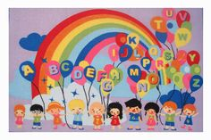 Fun Rugs Fun Time Educational Balloons Area Rug - Multicolor - Kids Rugs at Hayneedle Letters For Kids, Abc For Kids, Kids Area Rugs, Learning Tools, Carpet Design, Contemporary Rugs, Kids Education, Cool Rugs, Colorful Rugs