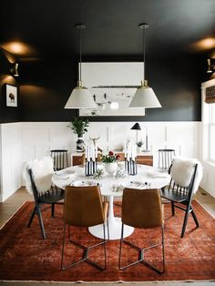 Black dining room with white tulip table. Mixed dining room chairs One Room Challenge Dining Room Walls, Dining Room Design, Dining Chairs, Dark Blue Dining Room, Black Dining Rooms, Mismatched Dining Room, Dining Nook, Dining Sets, Small Dining