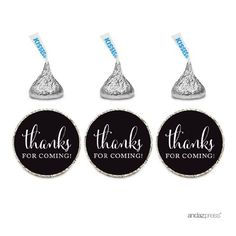 Andaz Press Chocolate Drop Labels Stickers, Thanks for Coming!, Black, 216-Pack, For Wedding Birthday Party Baby Bridal Shower Hershey's Kisses Party Favors Decor Envelope Seals