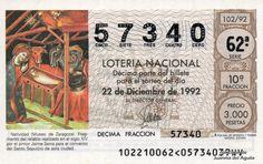 Décimo de Lotería de Navidad del año 1992 - Natividad. (Museo de Zaragoza)