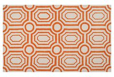 I think the orange and ivory colors will go a long way in a living space. Undertow Rug, Golden Ochre/Ivory on OneKingsLane.com