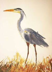 a simple life afloat: Great Blue Heron Painting