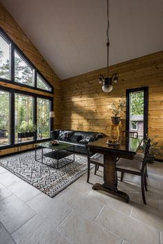 Finnlamelli Log Homes Rustic Style, Rustic Decor, Living Spaces, Living Room, House In The Woods, House Rooms, Log Homes, Home And Living, Sweet Home